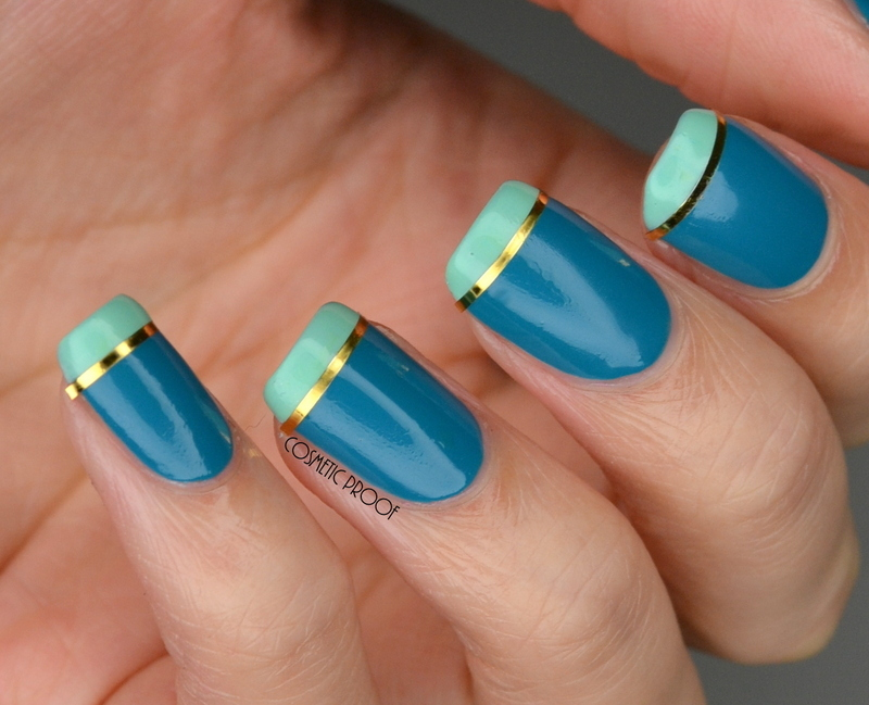 Teal French Manicure nail art by Jayne