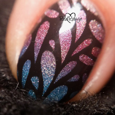 Holographic gradient macro nail art by RedRouge