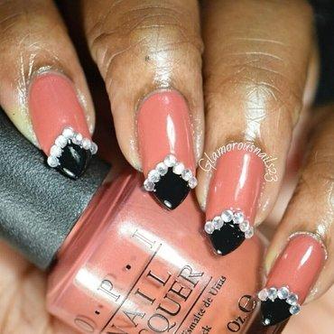 Mauve, Black & Studs  nail art by glamorousnails23