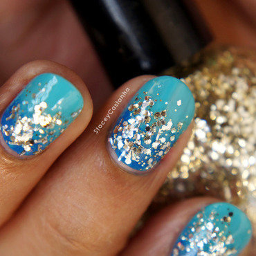 Glitter Gradient  nail art by Stacey  Castanha