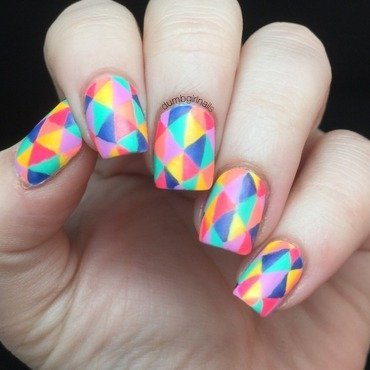 Geotriangles nail art by Michelle