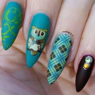 Owl Plaid nail art by Nora (naq57)
