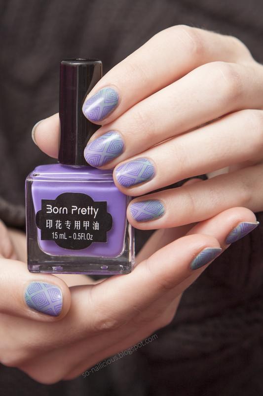 Violet stamping nail art by Magdalena