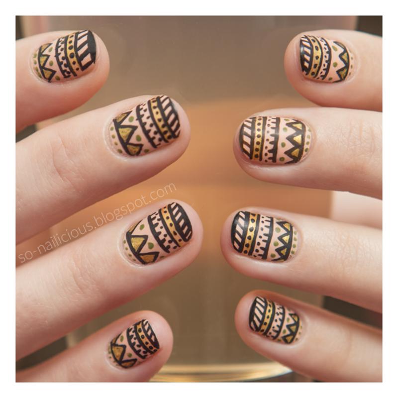 Aztec nail art by Magdalena