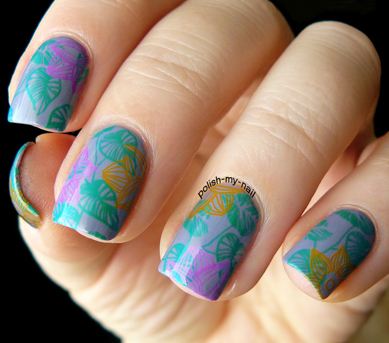 Multicolor stamping nail art by Ewlyn
