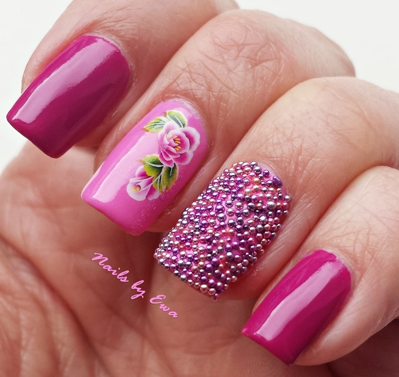 Pink caviar  nail art by Ewa