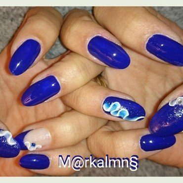 Something blue nail art by Markalmns