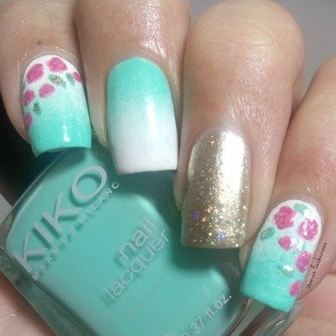 mint gradient with roses nail art by irma