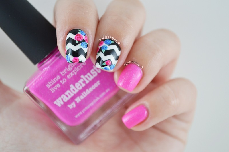 Chevrons and flowers nail art by Julia