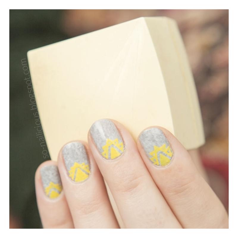 Grey + color nail art by Magdalena