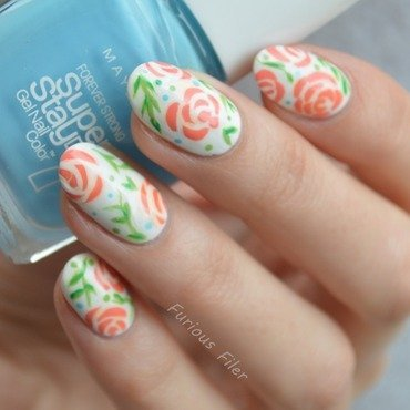 Floral Design  nail art by Furious Filer
