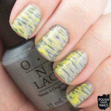 Grey yellow needle drag nail art 4 thumb370f