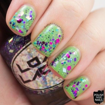 Green loaded lacquer texting on the dancefloor glitter swatch 3 thumb370f
