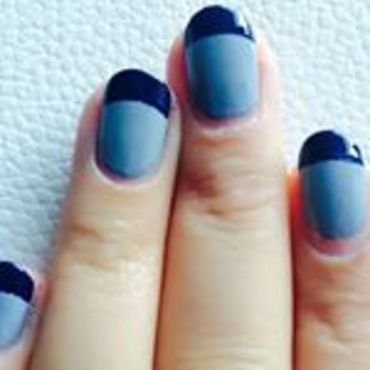Grey Frenchtip nail art by Dhrupa Oza