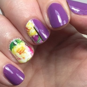Floral Water Decals nail art by Crystal Bond