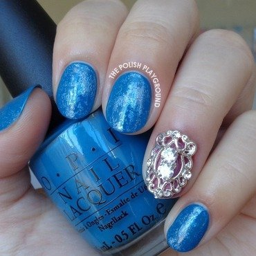 Blue with Holographic Nail Foil nail art by Lisa N