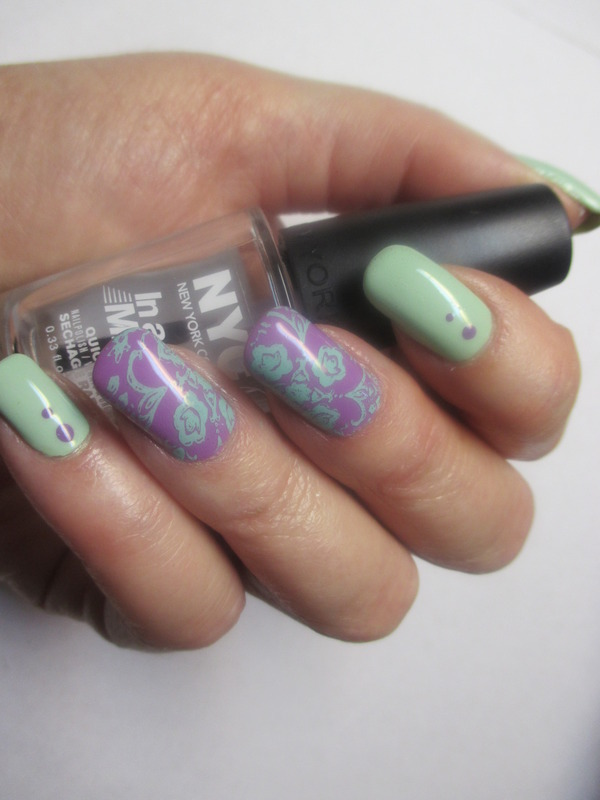 Minted Orchid nail art by NinaB