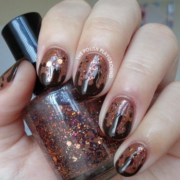 Glittery Brown with Chocolate Drips nail art by Lisa N