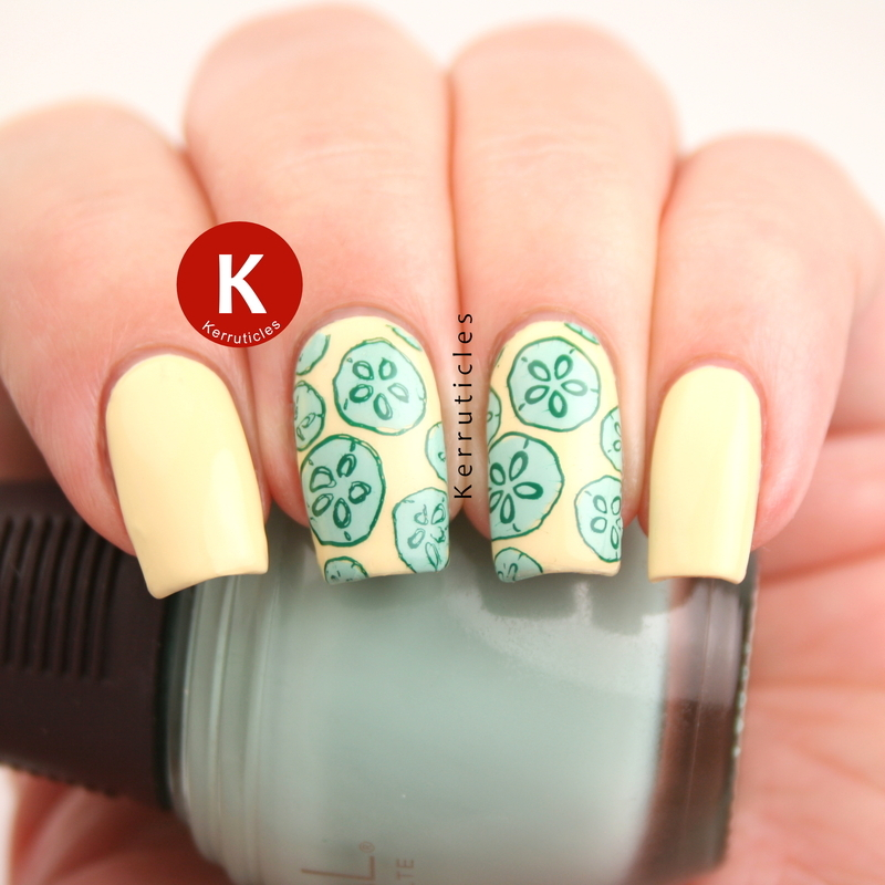 Cucumber nails (or green sand dollars!) nail art by Claire Kerr