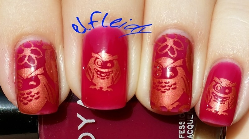 Copper owls nail art by Jenette Maitland-Tomblin