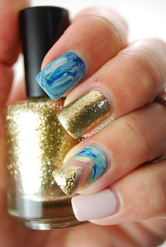 Blue Marble Chevron Nails nail art by Sarah S
