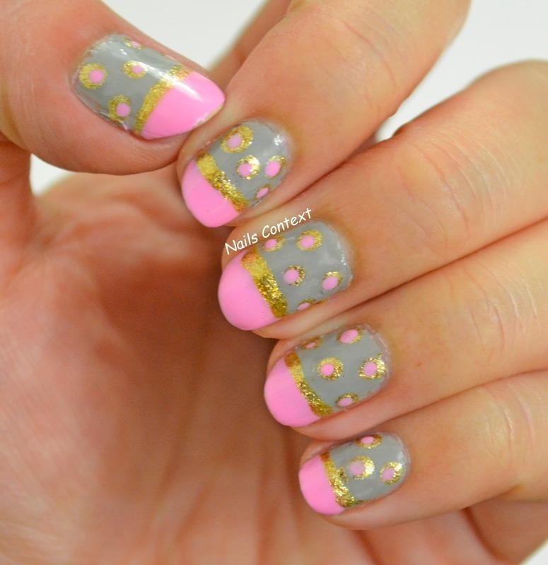 Grey and Pink Nails nail art by NailsContext