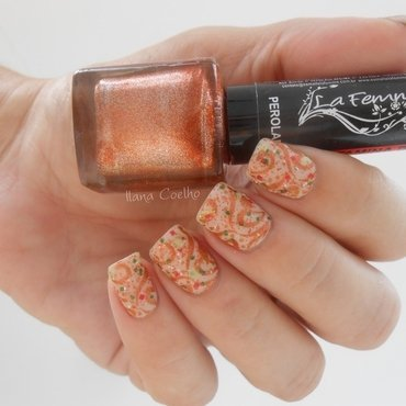 stamped cute combo nail art by Ilana Coelho