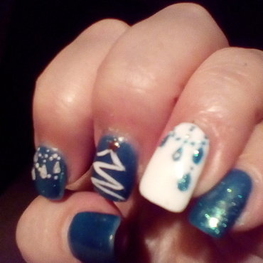 Christmas in turquoise nail art by upgirlcd