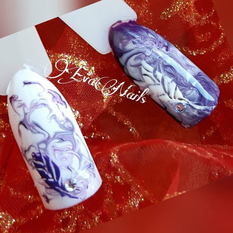 marble and feather nail art by Ewa EvaNails