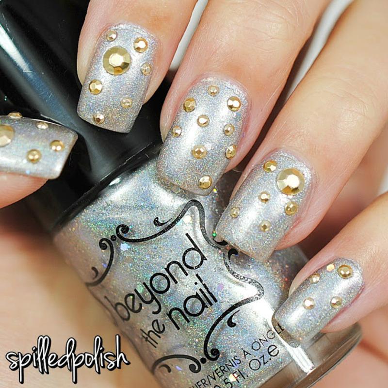 Silver & Gold Nails nail art by Maddy S