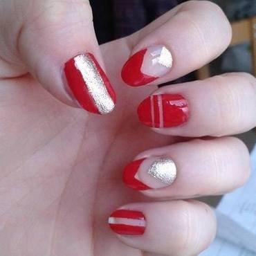Red&Gold Christmassy negative space nail art by Barbora Balejova