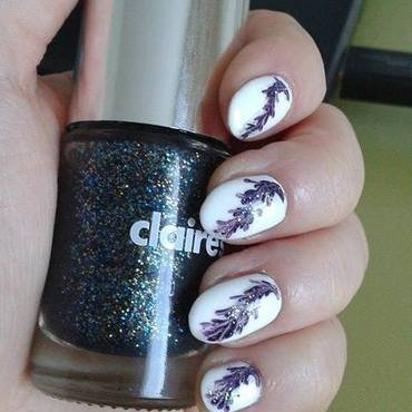 White&Violet watermarble without water nail art by Barbora Balejova
