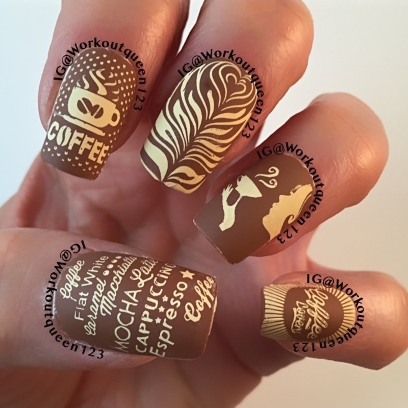 Addicted to Coffee mani nail art by Workoutqueen123