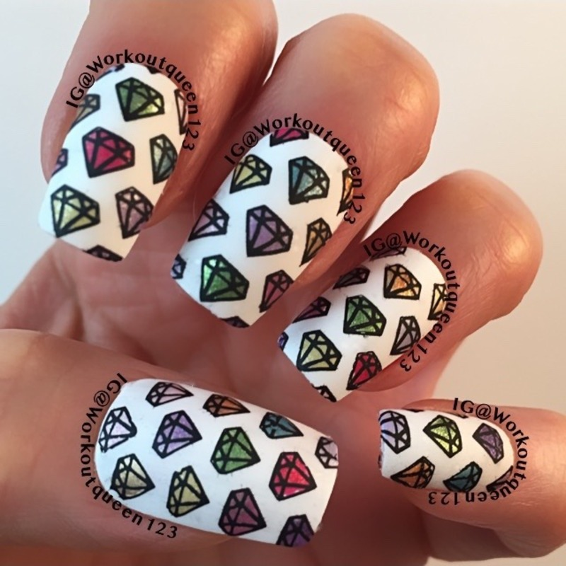 Diamonds  nail art by Workoutqueen123