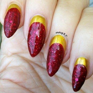 Ruby & Gold nail art by Nora (naq57)