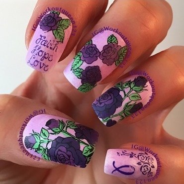 Third mani for Pancreatic cancer awareness nail art by Workoutqueen123