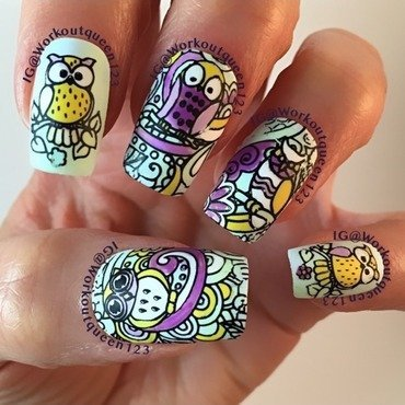 who see the Owls mani nail art by Workoutqueen123