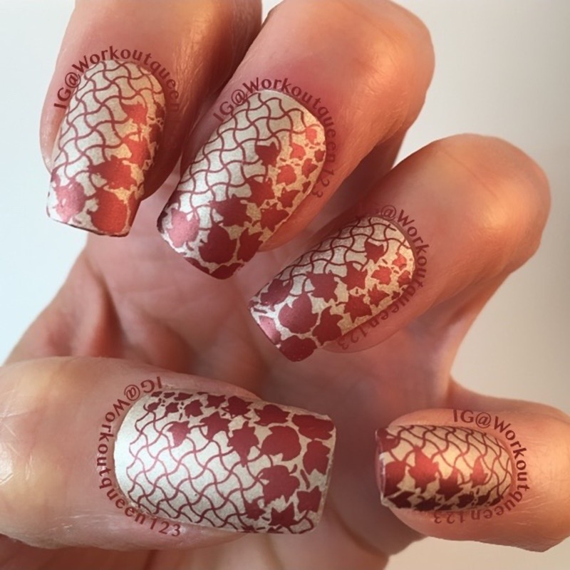 Gold and Copper Leaf mani nail art by Workoutqueen123