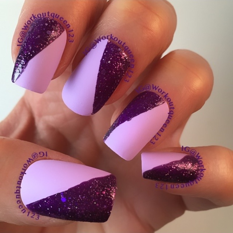 Purple and Purple Glitter mani nail art by Workoutqueen123