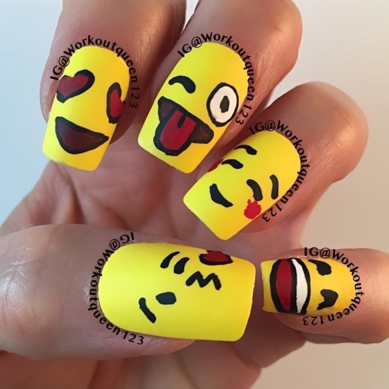 Emoji's  nail art by Workoutqueen123