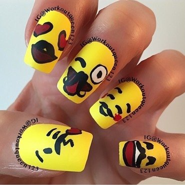 Emoji's support Movember mani nail art by Workoutqueen123