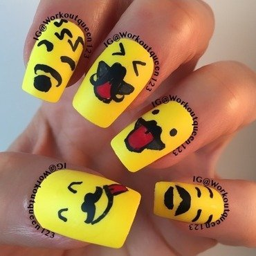Emoji's support Movember mani part 2 nail art by Workoutqueen123