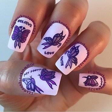 Fourth mani for Pancreatic cancer awareness nail art by Workoutqueen123