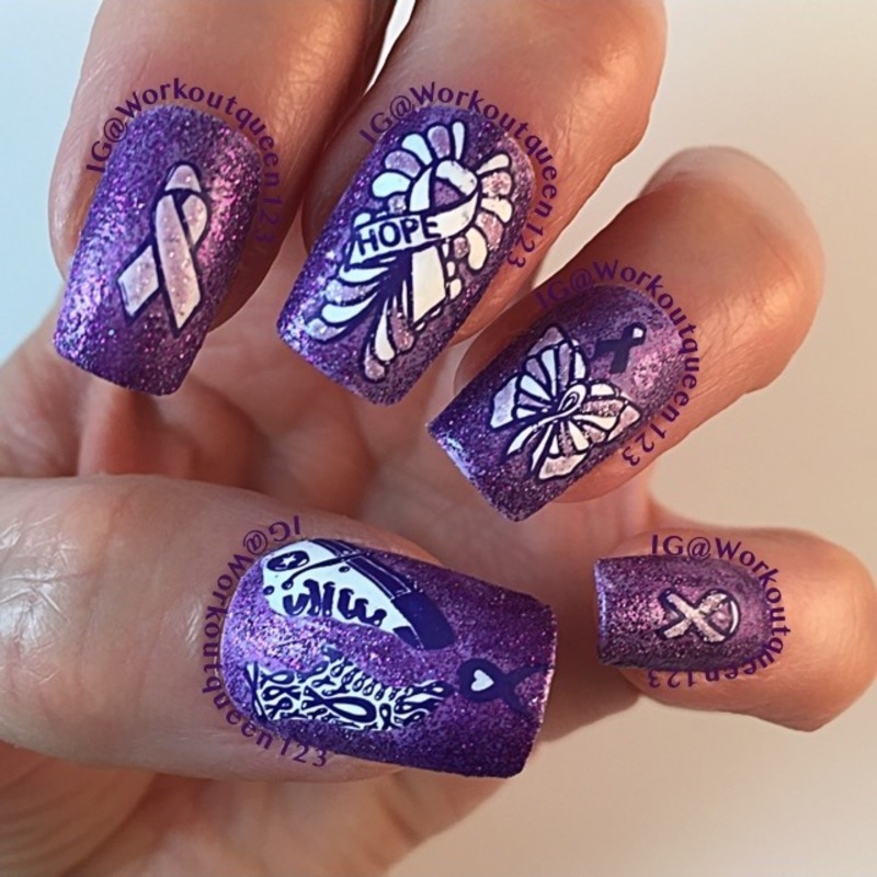 Last mani for Pancreatic cancer awareness nail art by Workoutqueen123