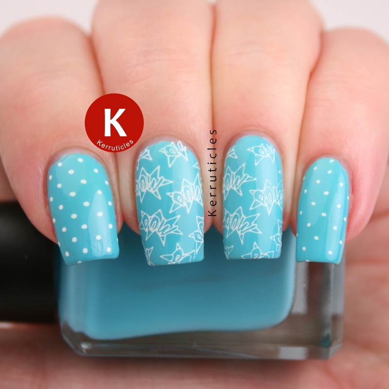 Turquoise comic style nails nail art by Claire Kerr