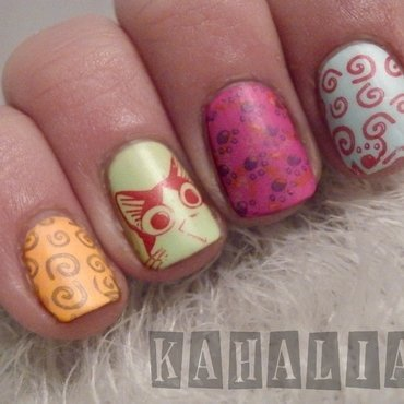 Cartoon nail art by Kahaliah