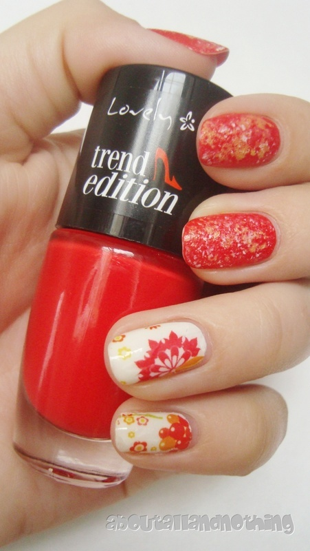 Red autumn nail art by Kasia
