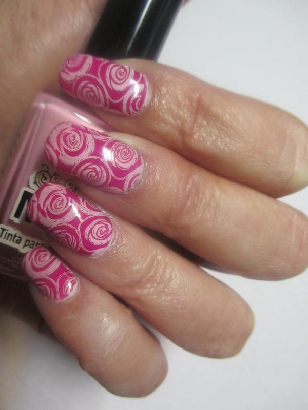 Rose Franken Fuschia nail art by NinaB