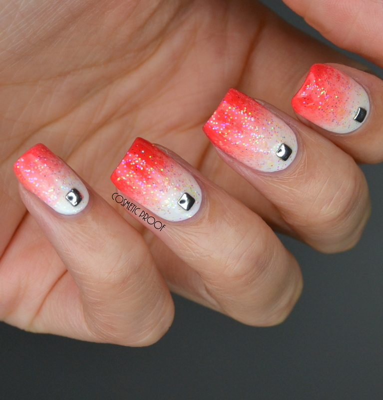 Glittery Coral Gradient nail art by Jayne