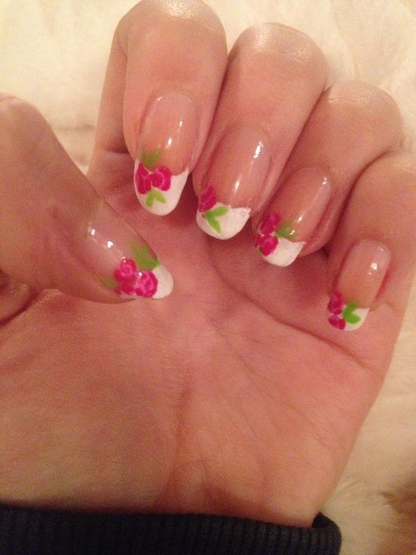 French Tip Roses nail art by EmilyT - Nailpolis: Museum of Nail Art